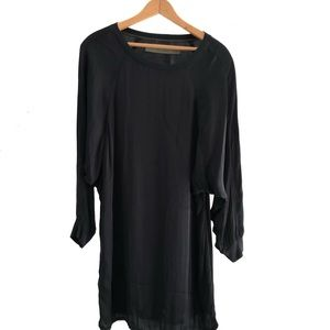 Enza Costa Black Long Sleeve Shirt Dress